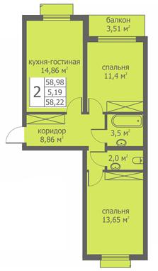 Планировка Двухкомнатная квартира площадью 57.65 кв.м в ЖК «Близкое»