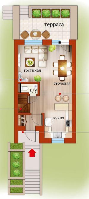 Планировка Четырёхкомнатная квартира (Евро) площадью 91.55 кв.м в ЖК «Близкое»