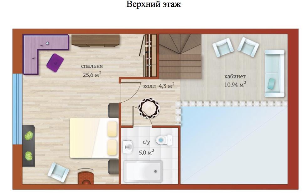 Планировка Пятикомнатная квартира (Евро) площадью 104.9 кв.м в ЖК «Близкое»