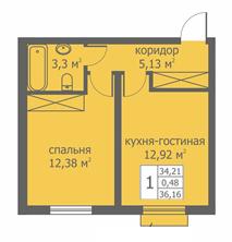 Планировка Однокомнатная квартира площадью 34.78 кв.м в ЖК «Близкое»