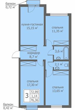 Планировка Трёхкомнатная квартира площадью 75.94 кв.м в ЖК «Близкое»