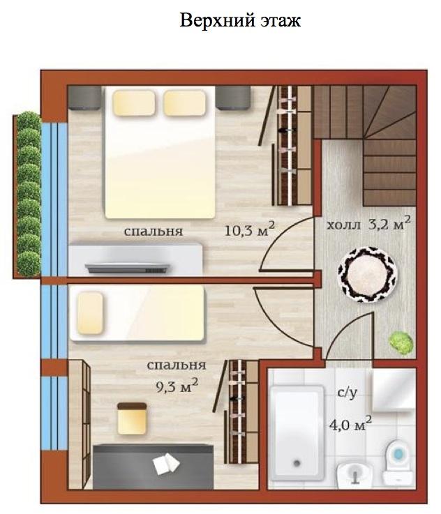 Планировка Трёхкомнатная квартира (Евро) площадью 57.1 кв.м в ЖК «Близкое»