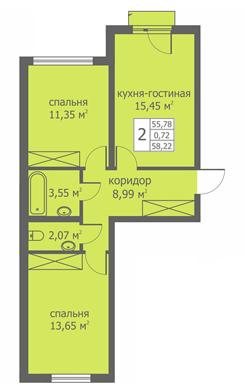 Планировка Двухкомнатная квартира площадью 58.47 кв.м в ЖК «Близкое»