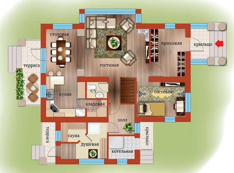 Планировка Шестикомнатные квартиры площадью 169.38 кв.м в ЖК «Близкое»