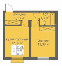 Планировка Однокомнатная квартира площадью 34.79 кв.м в ЖК «Близкое»